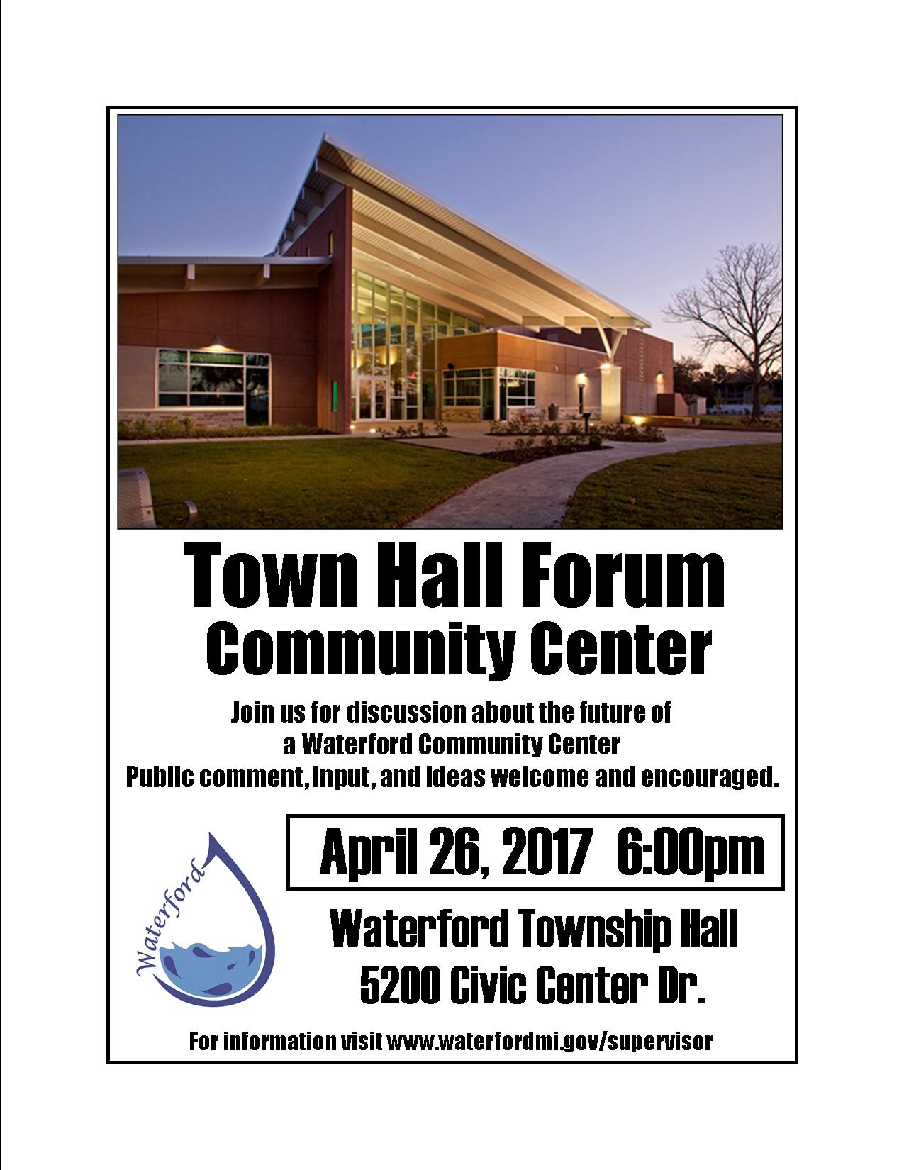 Town Hall Forum - community center