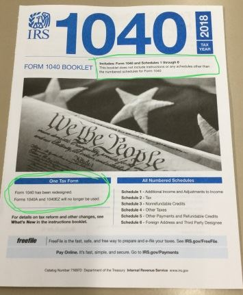 new 1040 form booklet in jan 2019 smaller