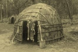 Sepia tinted photo of wigwam