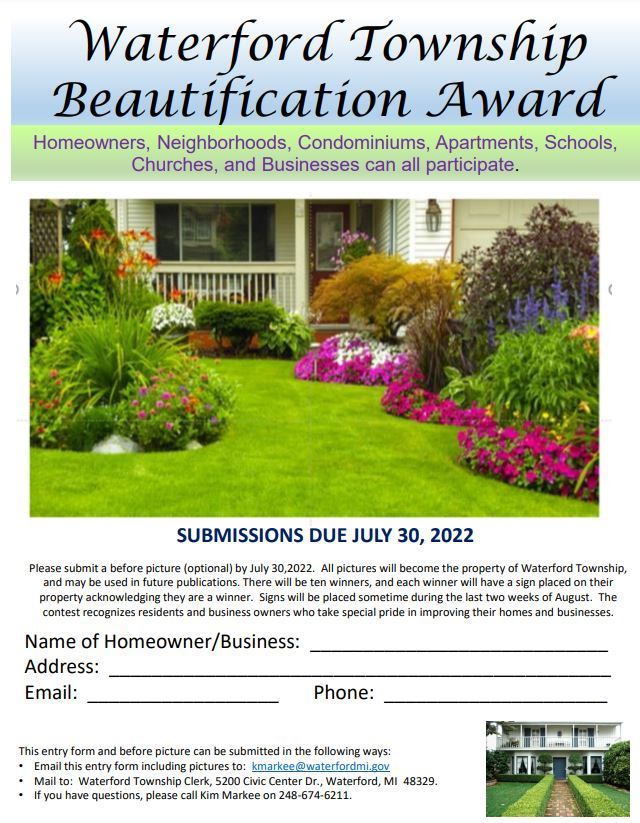Waterford Twp Beautification Entry Form
