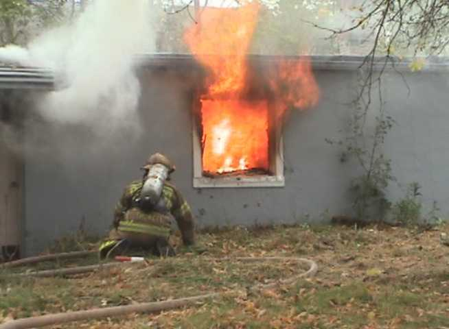 Bedroom flashover breaks window