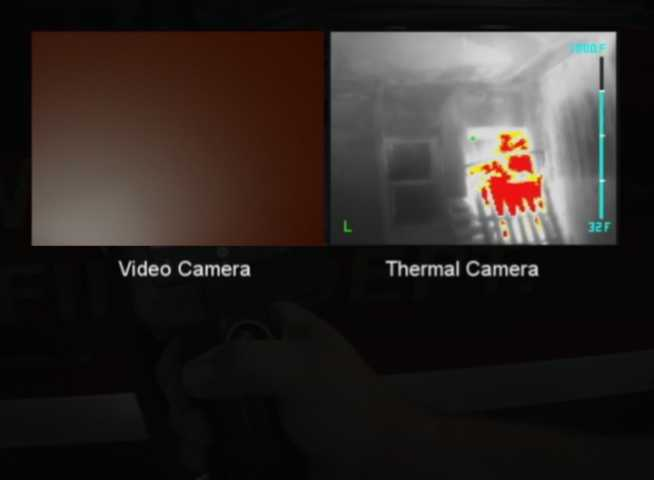 Images of the same smoke filled room from each cam