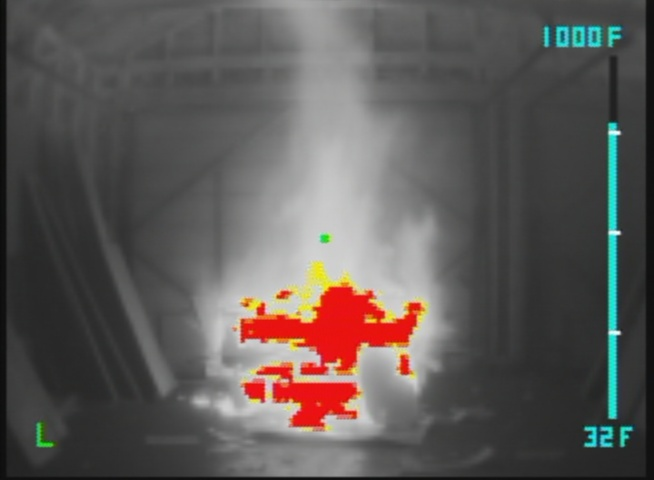 Incipient fire viewed with a thermal imaging camer