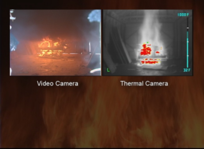 The same fire viewed from a video and thermal came