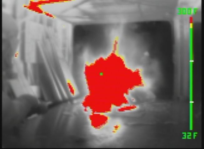 Fire viewed with a thermal camera as it grows