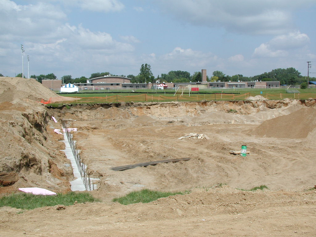 Foundation is in place. Pierce Junior High is in t
