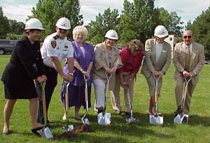 Ground breaking on the new police station. July 18