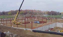 Steel Structure going up. October 27, 2000