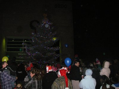 A crowd gathered around a Christmas tree