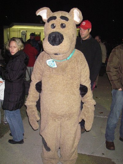A person dressed up in a Scooby Doo costume