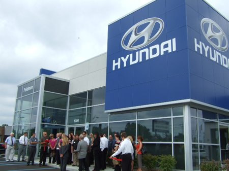 Group gathered outside Hyundai dealership