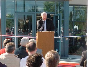 Supervisor Carl W. Solden welcomes the crowd.