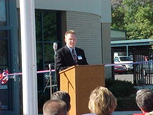 Terry Biederman DPW Director addresses the crowd.