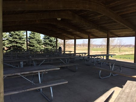 Picnic tables under covered pavilion