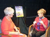 A female author being interviewed on the local authors show.